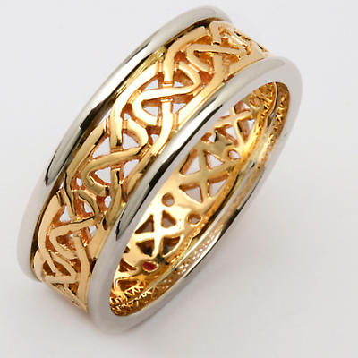 Irish Wedding Ring - Ladies Celtic Knot Narrow Pierced Sheelin Wedding Band Yellow Gold with White Gold Rims