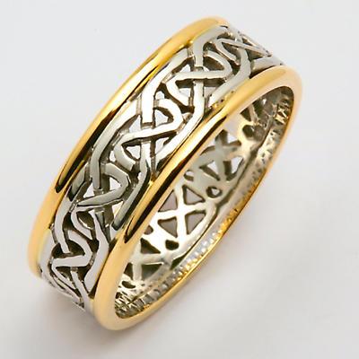 Irish Wedding Ring - Mens Celtic Knot Narrow Pierced Sheelin Wedding Band with Yellow Gold Rims