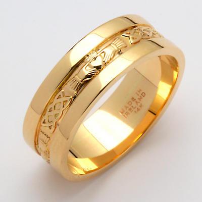 Irish Wedding Ring - Men's Gold Claddagh Corrib Wedding Band with Rims