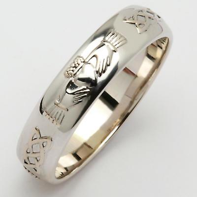 Irish Wedding Ring - Men's Narrow Claddagh Celtic Knot Corrib Wedding Band - Comfort Fit