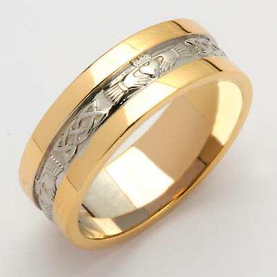 Irish Wedding Ring - Ladies White Gold With Yellow Gold Rims Claddagh Wedding Band