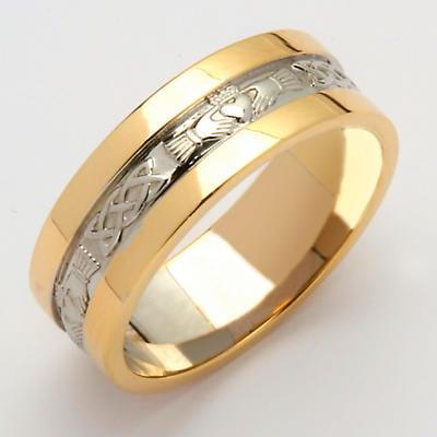 Irish Wedding Ring - Ladies White Gold With Yellow Gold Rims Claddagh Wedding Band