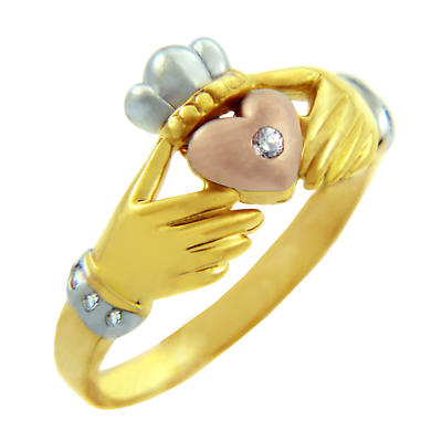 Claddagh Ring - Ladies Three-Tone Gold Claddagh Ring with CZ Heart