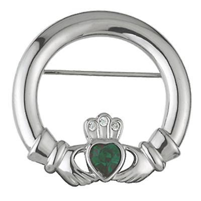 Emerald Crystal Claddagh Brooch
