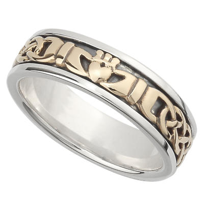 Irish Wedding Band - 10k Gold and Sterling Silver Ladies Celtic Knot Claddagh Ring