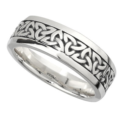 Irish Wedding Band Sterling Silver Mens Celtic Trinity Knot Ring At IrishSh
