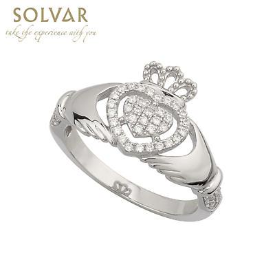 Irish Ring - Ladies Cubic Zirconia  Sterling Silver Claddagh Ring
