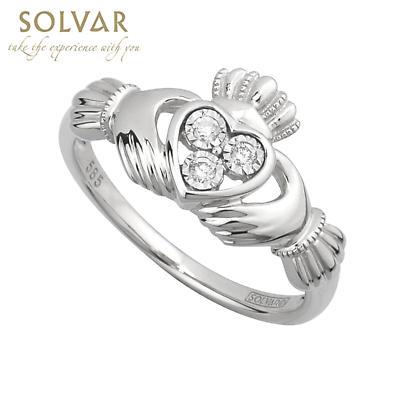 Claddagh Ring - Ladies Irish Claddagh Ring 14k White Gold with 3 Diamonds