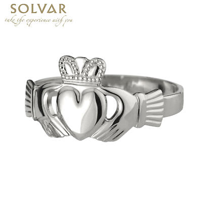 Claddagh Ring - Ladies Sterling Silver Puffed Heart Claddagh
