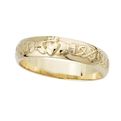 Irish Wedding Ring - Men's 14k Gold Claddagh Wedding Band
