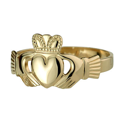 Claddagh Ring - Ladies Sterling 10k Gold Puffed Heart Claddagh