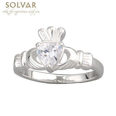 Claddagh Ring - Ladies Sterling Silver and CZ Heart Claddagh