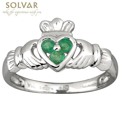 Claddagh Ring - Ladies 14k White Gold and 3 Emerald Heart Claddagh