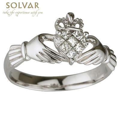Claddagh Ring - 14k White Gold Diamond Claddagh