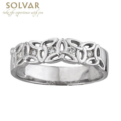 Trinity Knot Ring - Ladies 14k White Gold and Diamond Trinity Knot