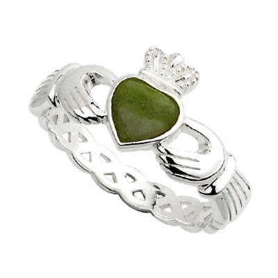 Claddagh Ring - Sterling Silver Connemara Marble Claddagh Weave