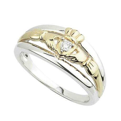 Claddagh Ring - Yellow Gold and Sterling Silver Claddagh with Diamonds
