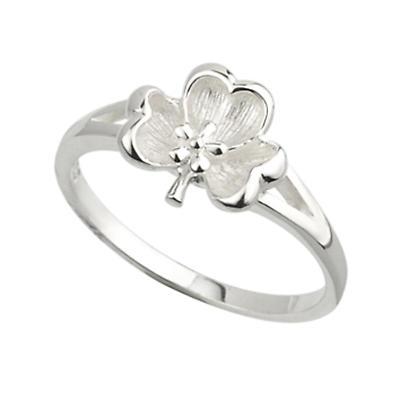 Shamrock Ring - Sterling Silver Shamrock and Flower