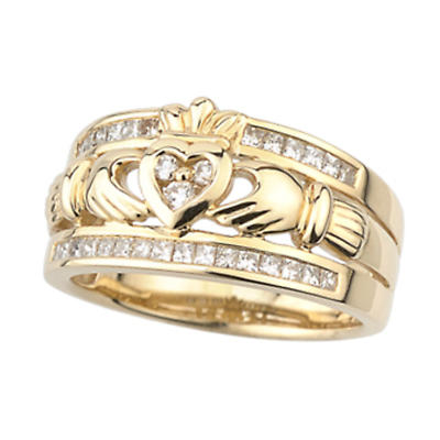 Claddagh Ring - 14k Yellow Gold Claddagh with Diamonds