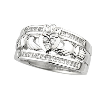 Claddagh Ring - 14k White Gold Claddagh with Diamonds