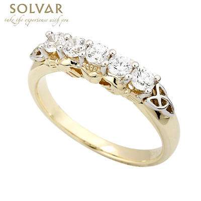 Irish Ring - 14k Gold with Diamond Ladies Celtic Trinity Knot Eternity Claddagh Ring