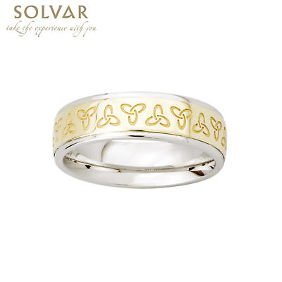 Trinity Knot Ring - 10k Gold and Sterling Silver Trinity Knot Ladies Irish Ring