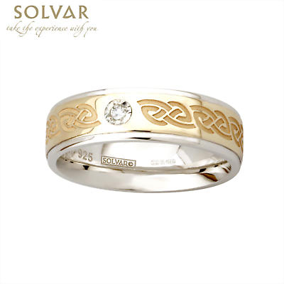 Celtic Ring - 10k Gold and Sterling Silver Celtic Knot Ladies Diamond Irish Ring