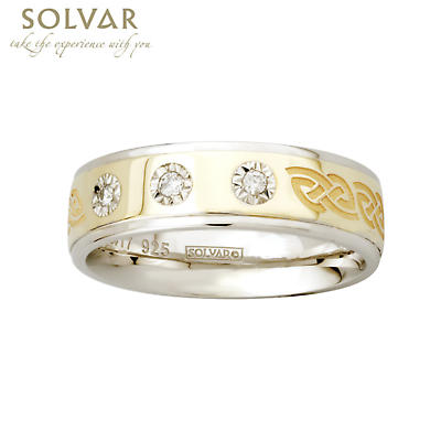 Celtic Ring - 10k Gold and Sterling Silver Celtic Knot Ladies 3 Diamond Irish Ring