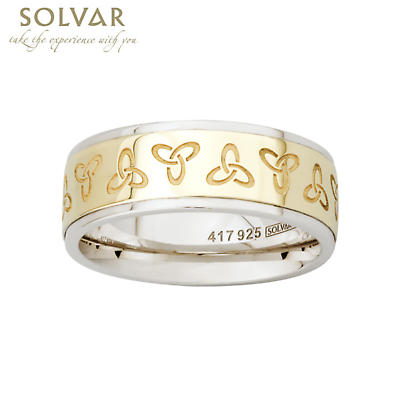 Trinity Knot Ring - 10k Gold and Sterling Silver Trinity Knot Mens Irish Ring
