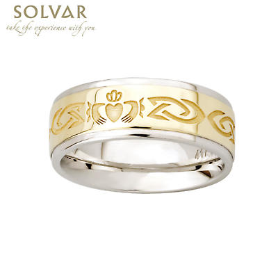 Claddagh Ring - 10k Gold and Sterling Silver Celtic Knot Claddagh Mens Ring