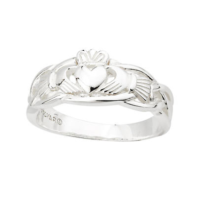 Claddagh Ring - Sterling Silver Celtic Weave Ladies Irish Ring