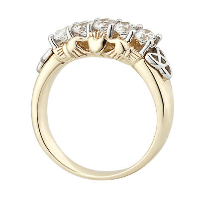 Claddagh Ring - 10k Gold CZ Claddagh Eternity Ring