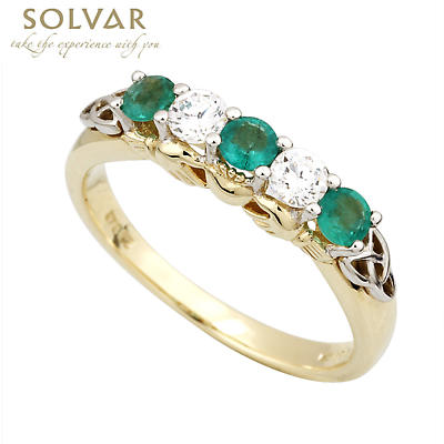 Claddagh Ring - 10k Gold Synthetic Emerald & CZ Claddagh Eternity Ring