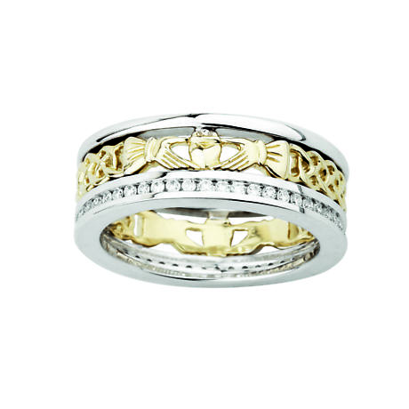 Claddagh Ring  - Ladies 14k Gold with Diamonds Claddagh Band