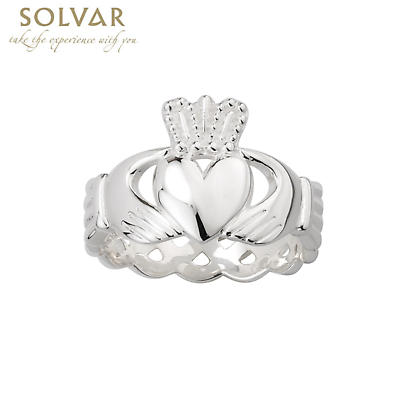 Celtic Ring - Men's Sterling Silver Claddagh Ring with Celtic Knot Band