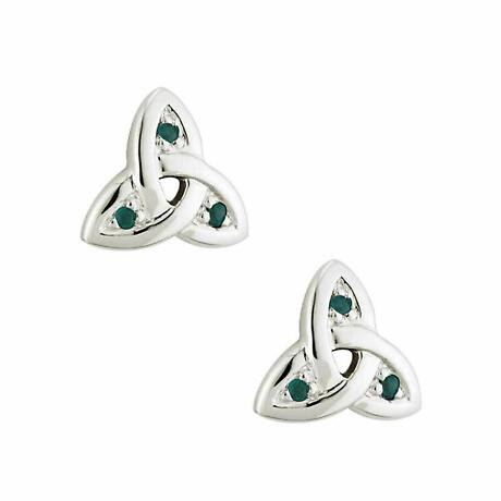 14k White Gold Trinity Knot with Emeralds Earrings