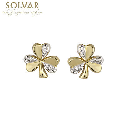 14k Two Tone Gold and Diamond Shamrock Earrings