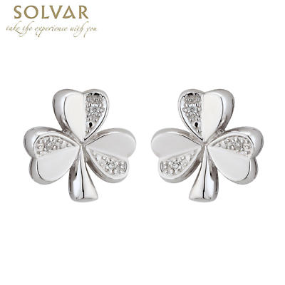 14k White Gold and Diamond Shamrock Earrings