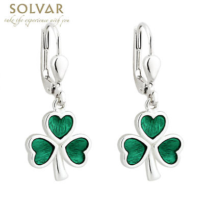 Sterling Silver Enamel Shamrock Earrings