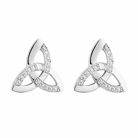 Celtic Earrings - 14k White Gold with Diamonds Trinity Knot Stud Earrings