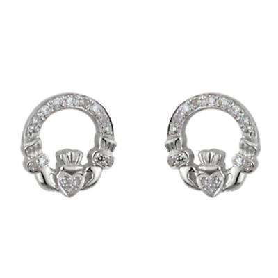 14k White Gold Micro Diamond Claddagh Earrings