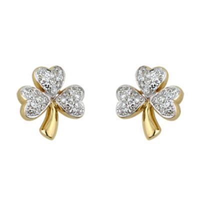 14k Yellow Gold Micro Diamond Shamrock Earrings