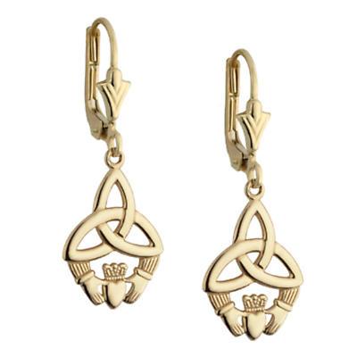 Celtic Earrings - 10k Yellow Gold Claddagh Trinity Knot Drop Earrings