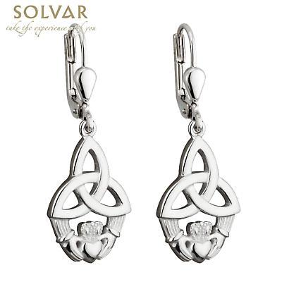 Celtic Earrings - Sterling Silver Claddagh Trinity Knot Drop Earrings