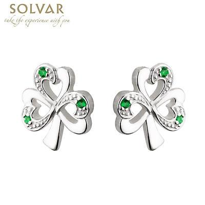 Sterling Silver Shamrock Green Stone Earrings