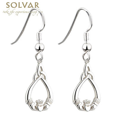 Celtic Earrings - Sterling Silver Claddagh Trinity Knot Earrings