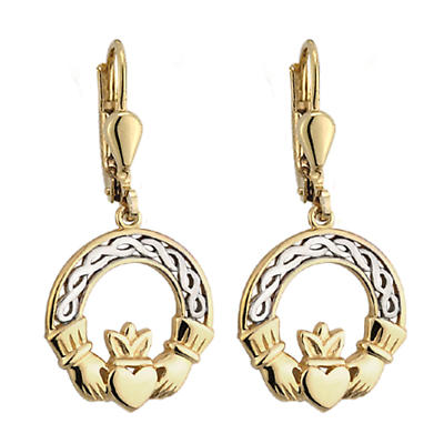 10k Two Tone Gold Claddagh Earrings