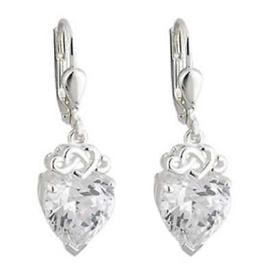 Celtic Earrings - Sterling Silver Crystal Heart Earrings