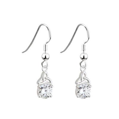 Celtic Earrings - Sterling Silver Trinity Knot Crystal Earrings
