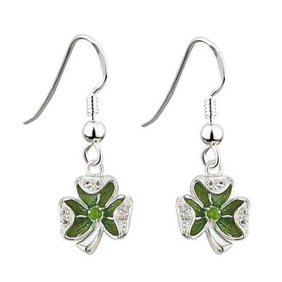 Sterling Silver Enamel and Crystal Shamrock Earrings